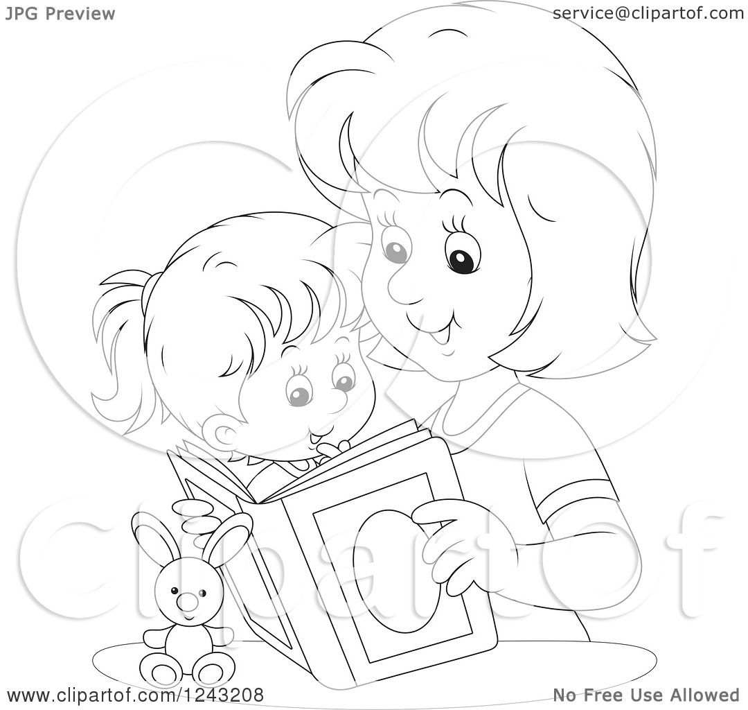 Clipart Of A Black And White Mother Reading A Story Book