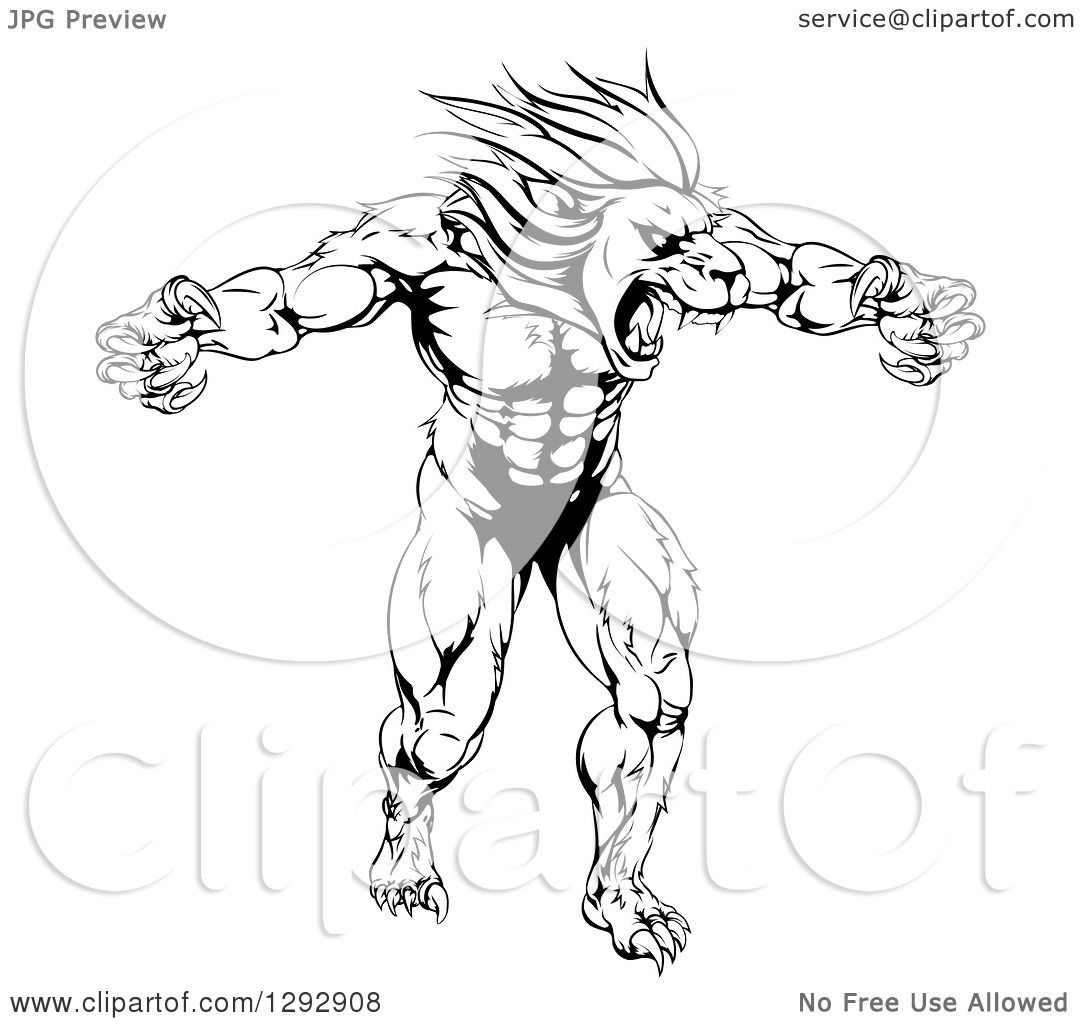 Clipart Of A Black And White Muscular Angry Lion Man