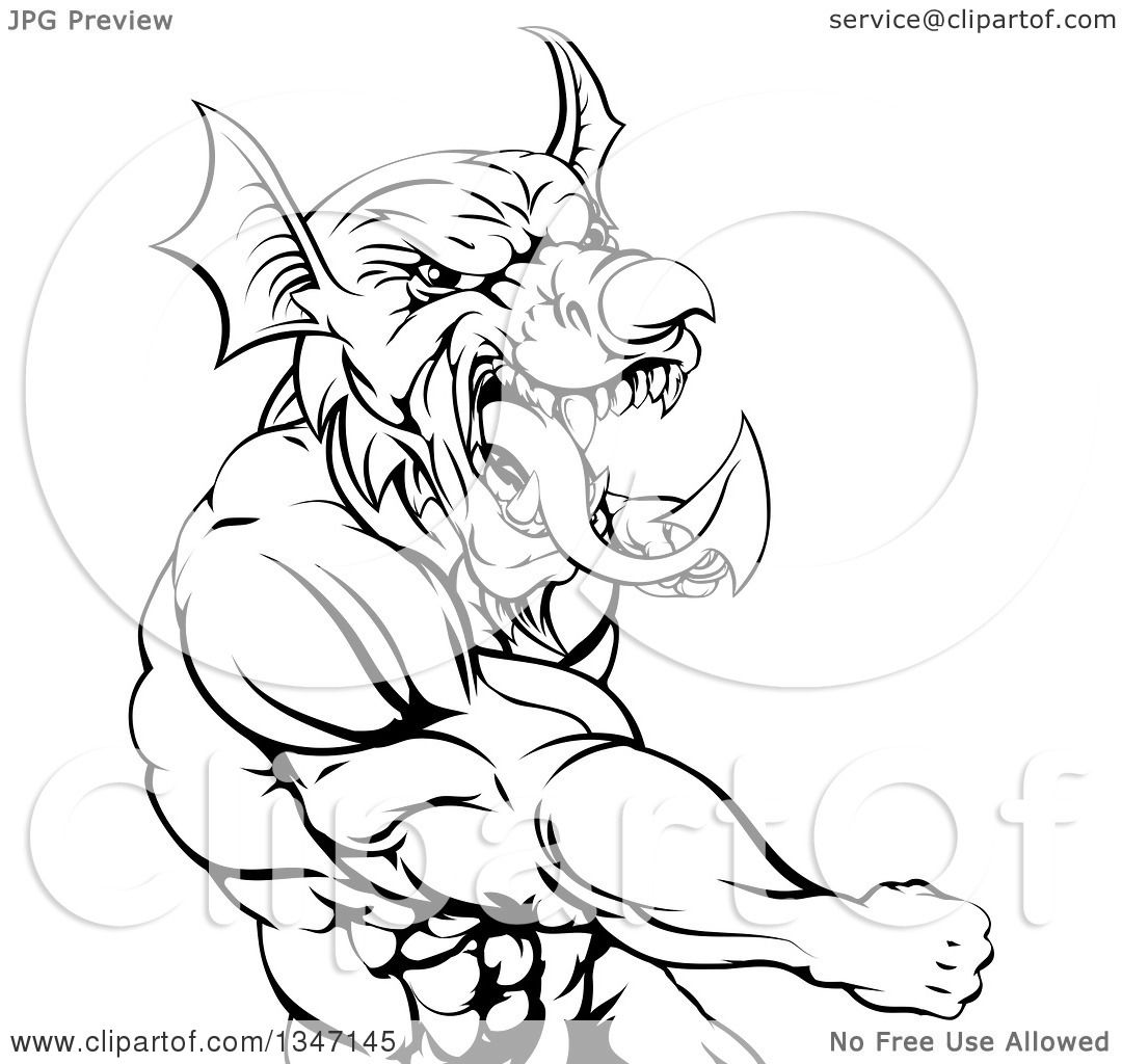 Clipart Of A Black And White Muscular Fighting Welsh