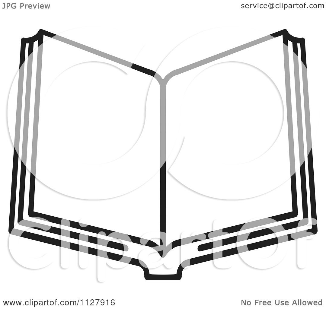 Clipart Of A Black And White Open Book