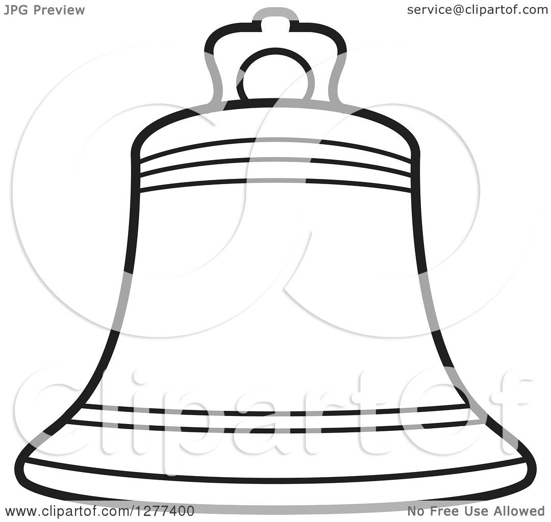Clipart Of A Black And White Outlined Bell