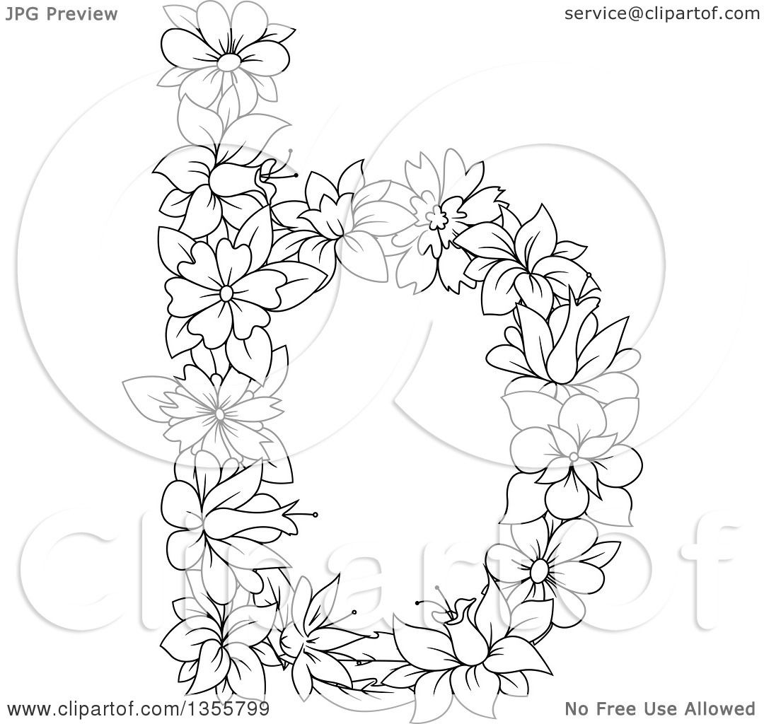Clipart Of A Black And White Outlined Floral Lowercase