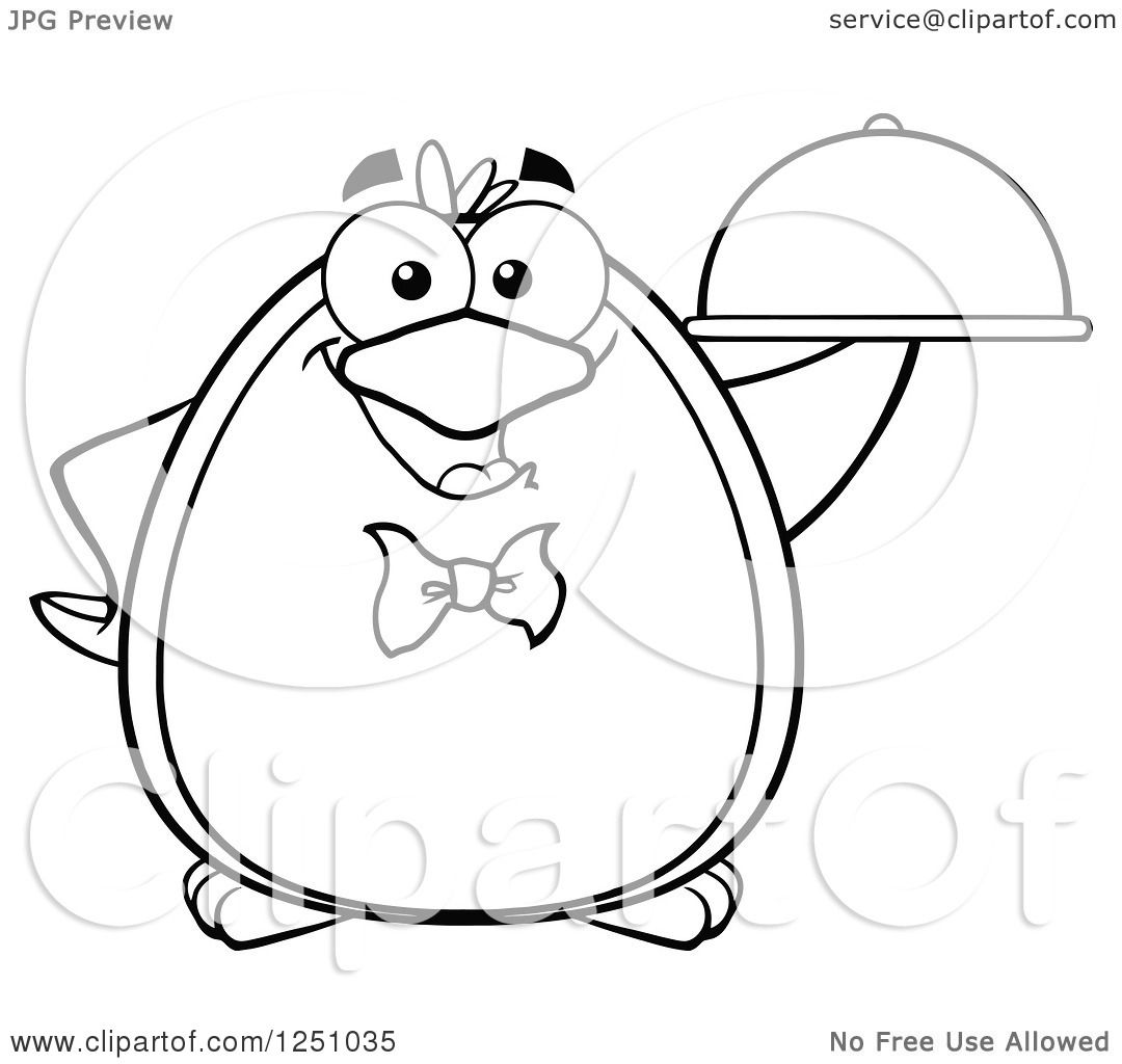 Clipart Of A Black And White Penguin Character Waiter