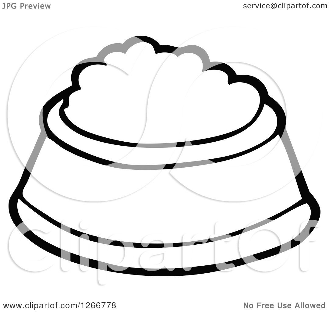 Clipart Of A Black And White Pet Food Bowl