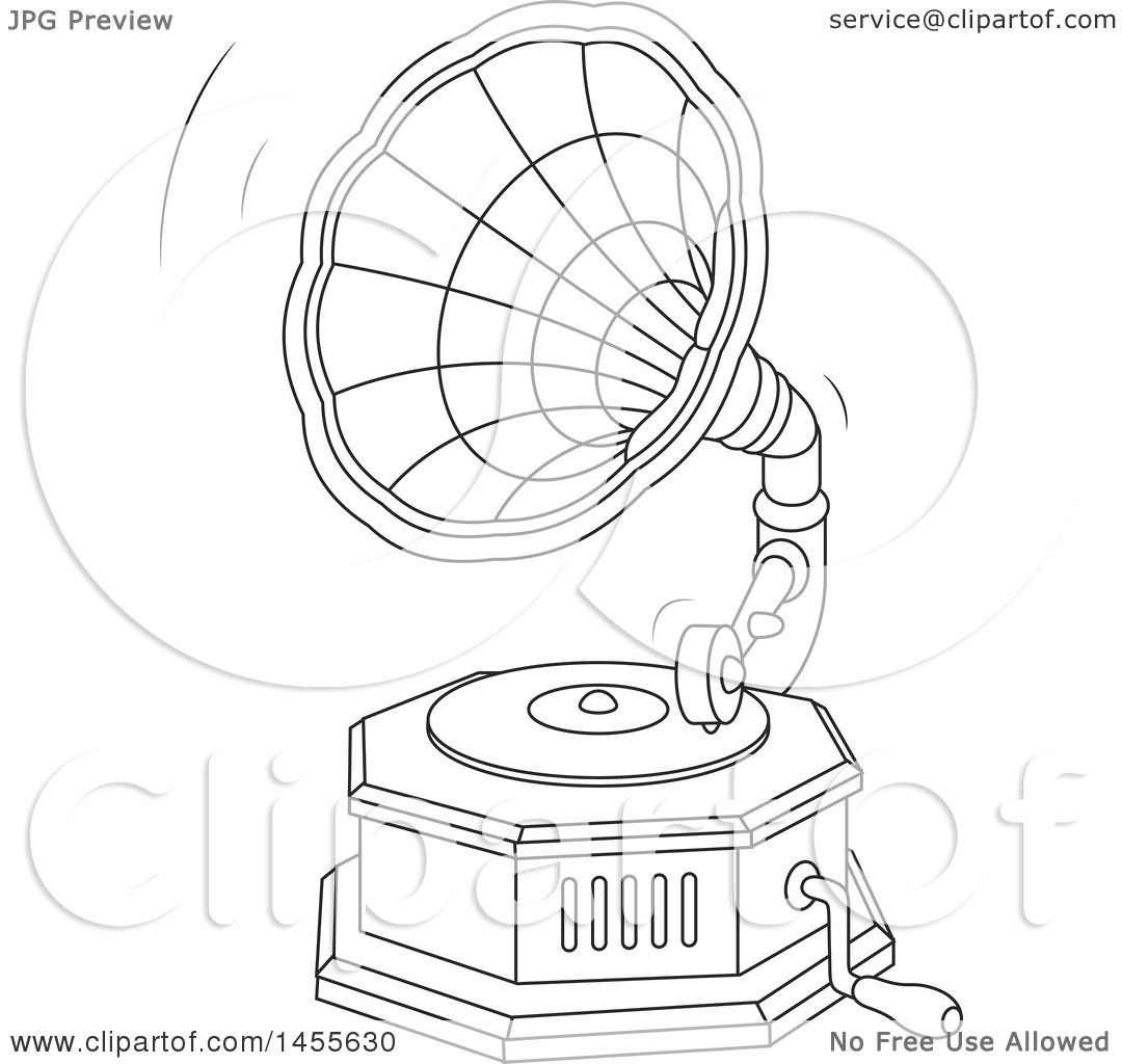 Clipart Of A Black And White Phonograph Gramophone Playing