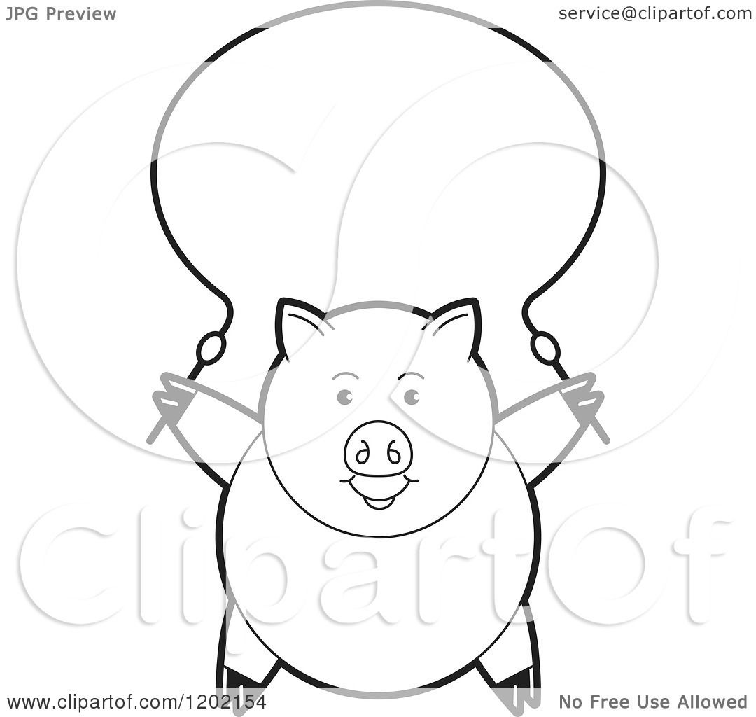 Clipart Of A Black And White Pig Exercising With A Jump