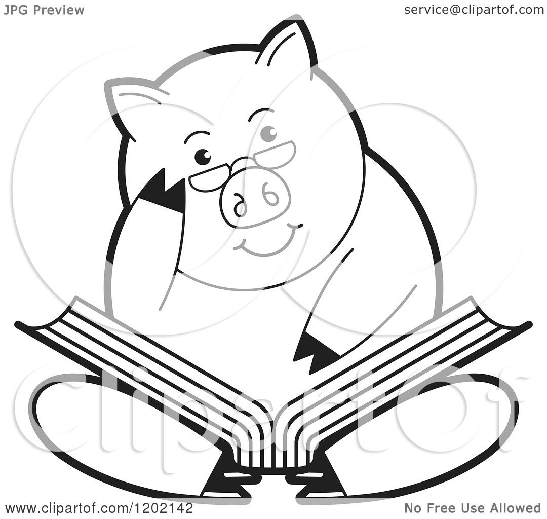 Clipart Of A Black And White Pig Sitting And Reading A