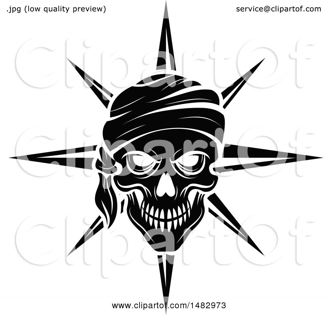 Clipart Of A Black And White Pirate Skull And Compass Star