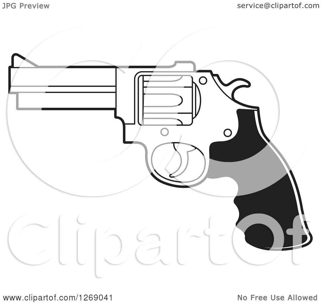 Clipart Of A Black And White Pistol Gun