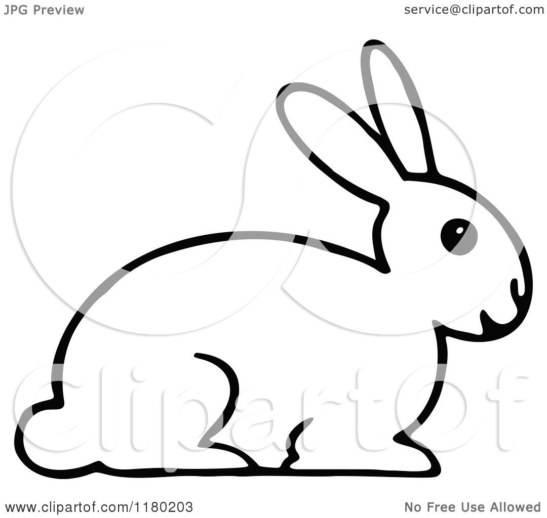 Clipart Of A Black And White Rabbit 2