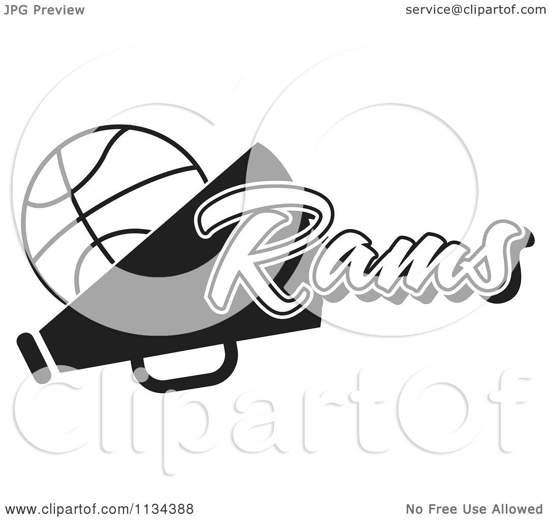 Clipart Of A Black And White Rams Basketball Cheerleader