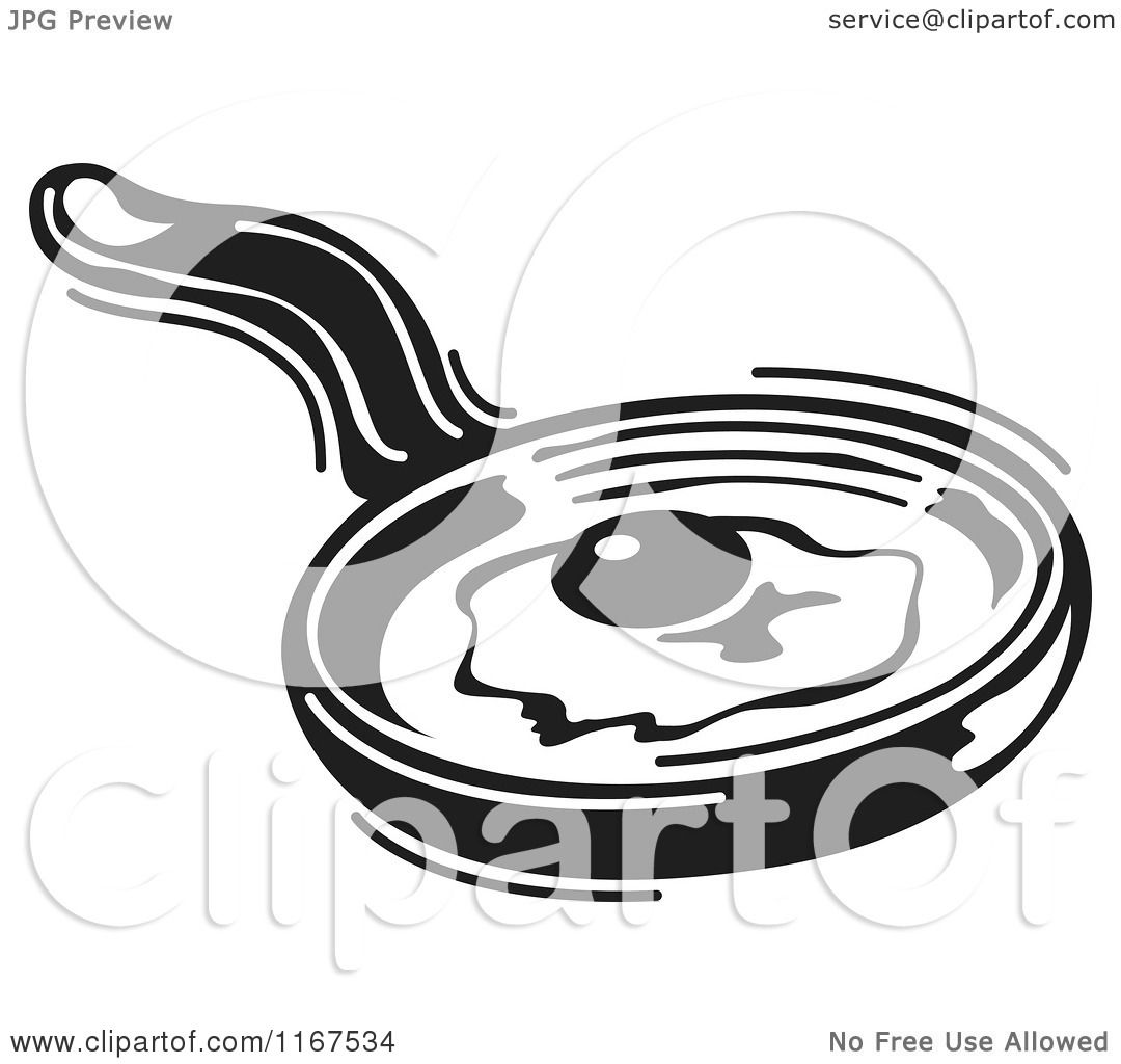 Clipart Of A Black And White Retro Egg Cooking In A