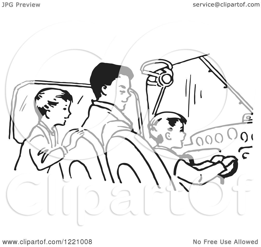Clipart Of A Black And White Retro Father Pilot And Sons