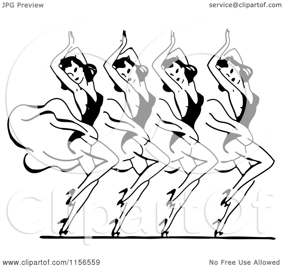 Clipart Of A Black And White Retro Group Of Dancing Women