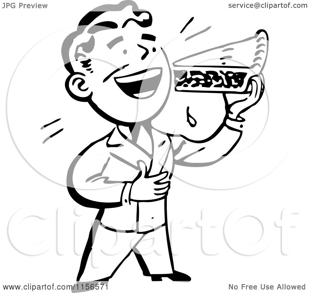 Clipart Of A Black And White Retro Man Eating A Slice Of