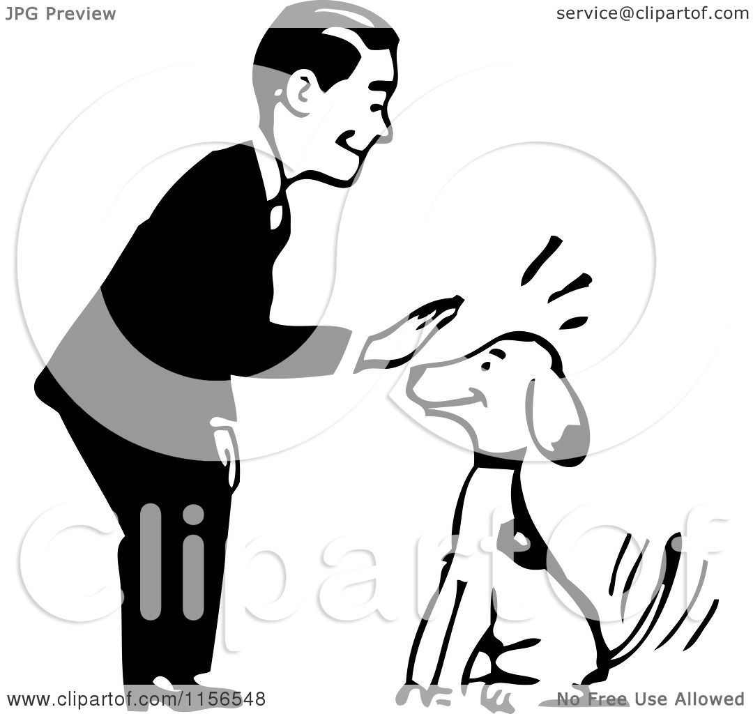 Clipart Of A Black And White Retro Man Petting A Sitting