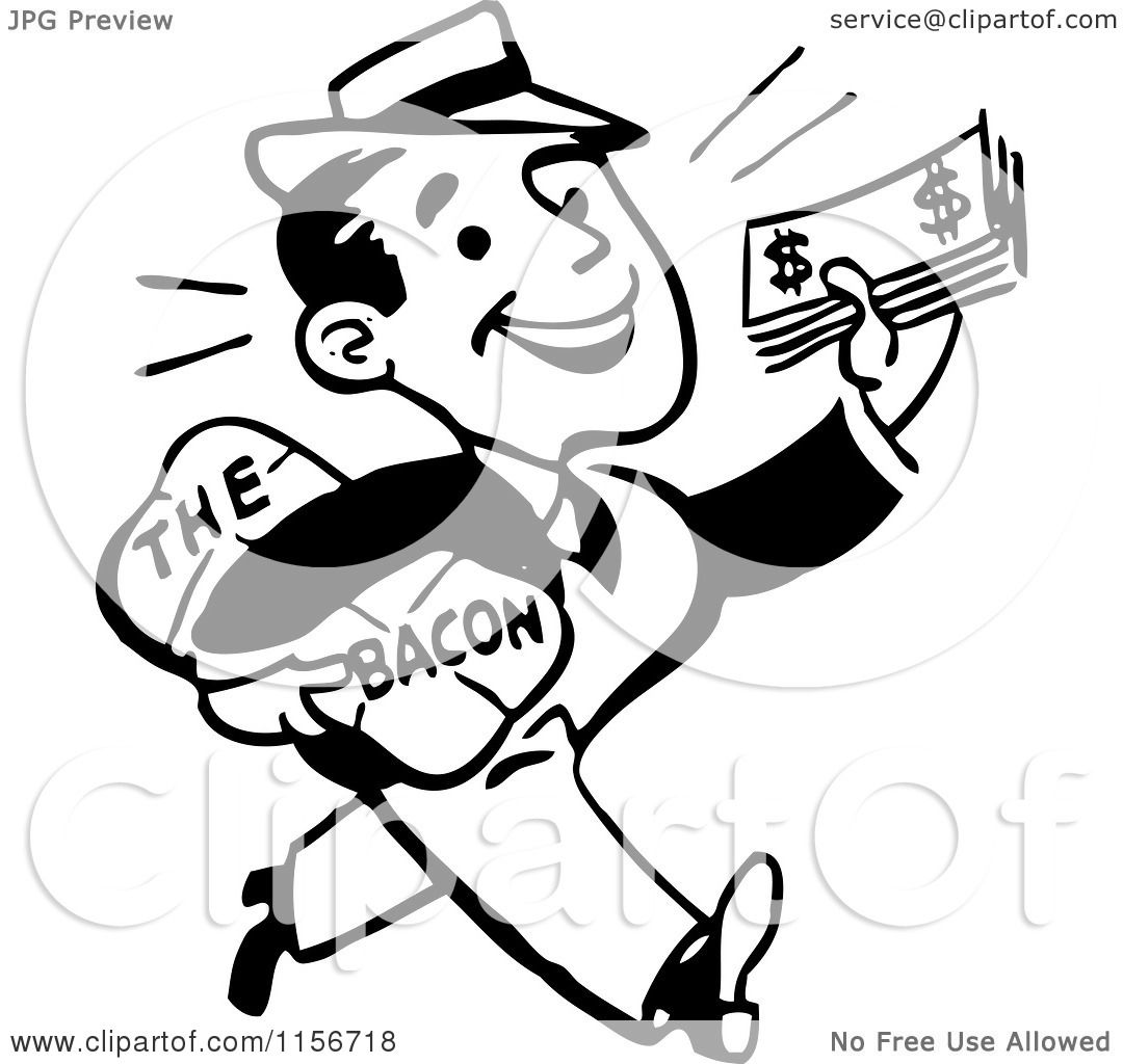Clipart Of A Black And White Retro Man Taking Home The