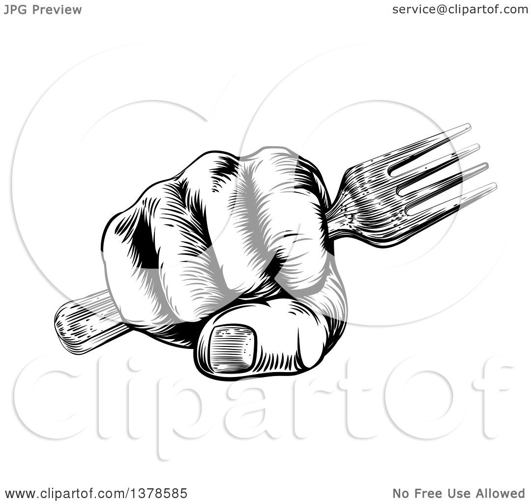 Clipart Of A Black And White Retro Woodcut Fisted Hand