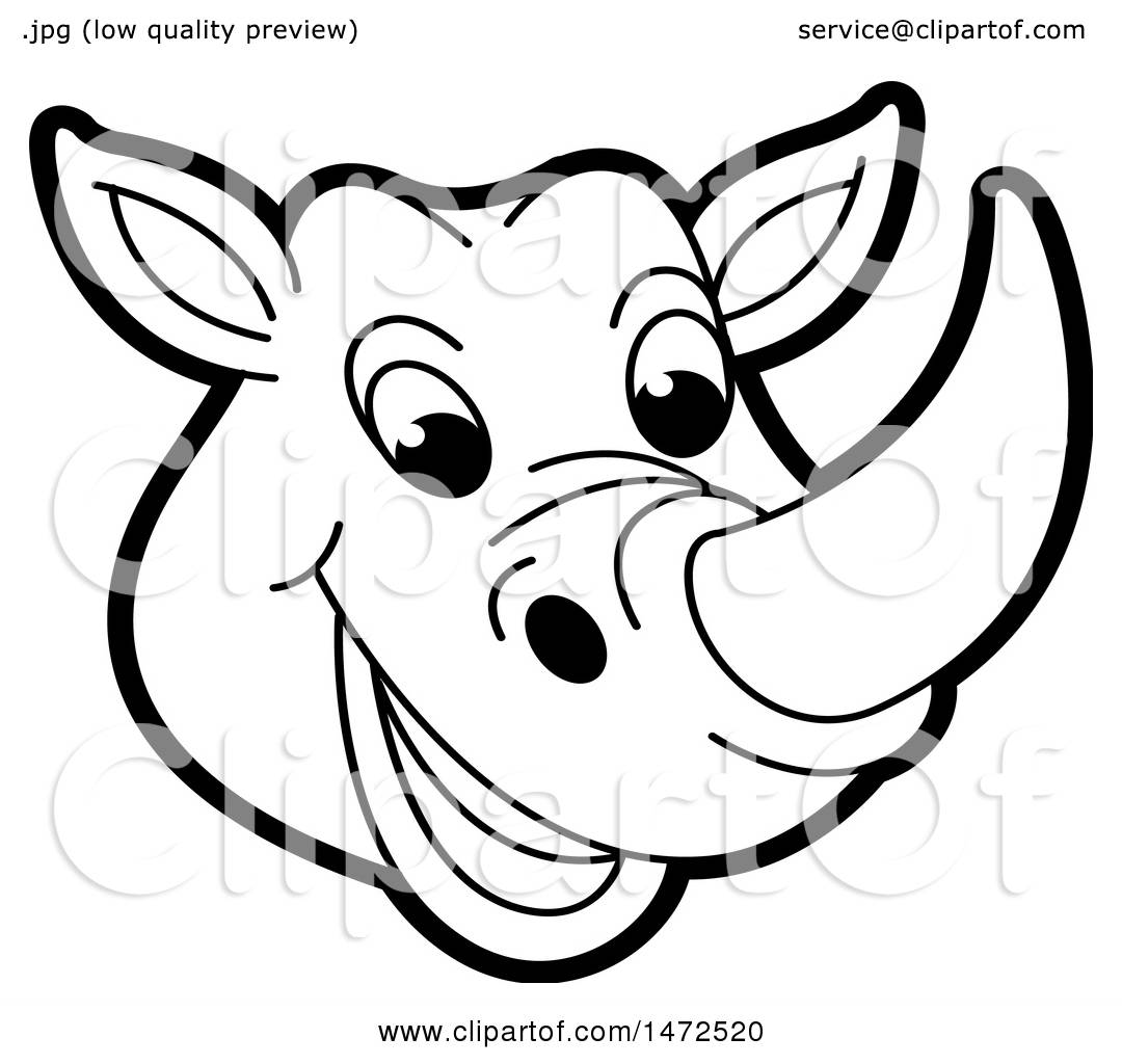 Clipart Of A Black And White Rhinoceros Mascot Face
