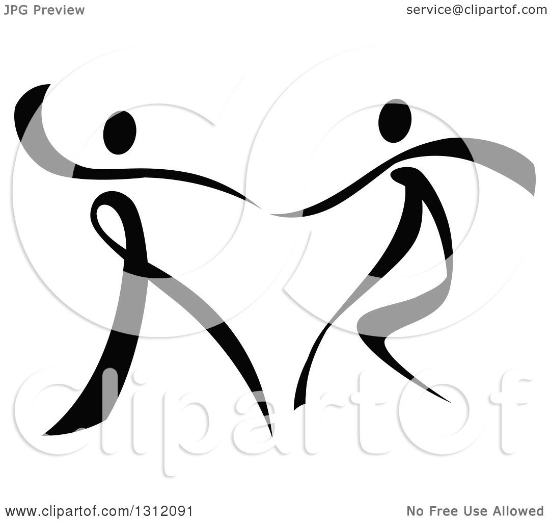 Clipart Of A Black And White Ribbon Couple Dancing