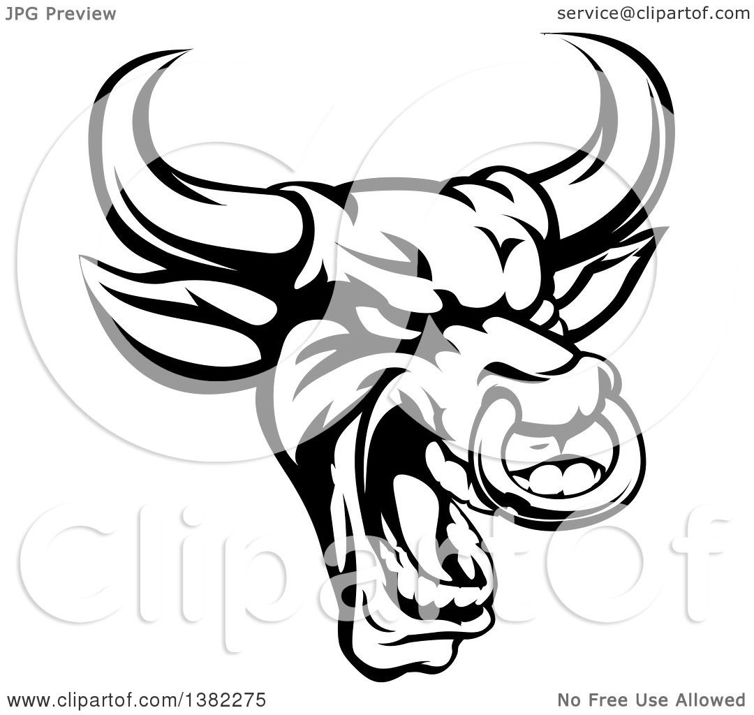 Clipart Of A Black And White Roaring Bull Mascot Head With