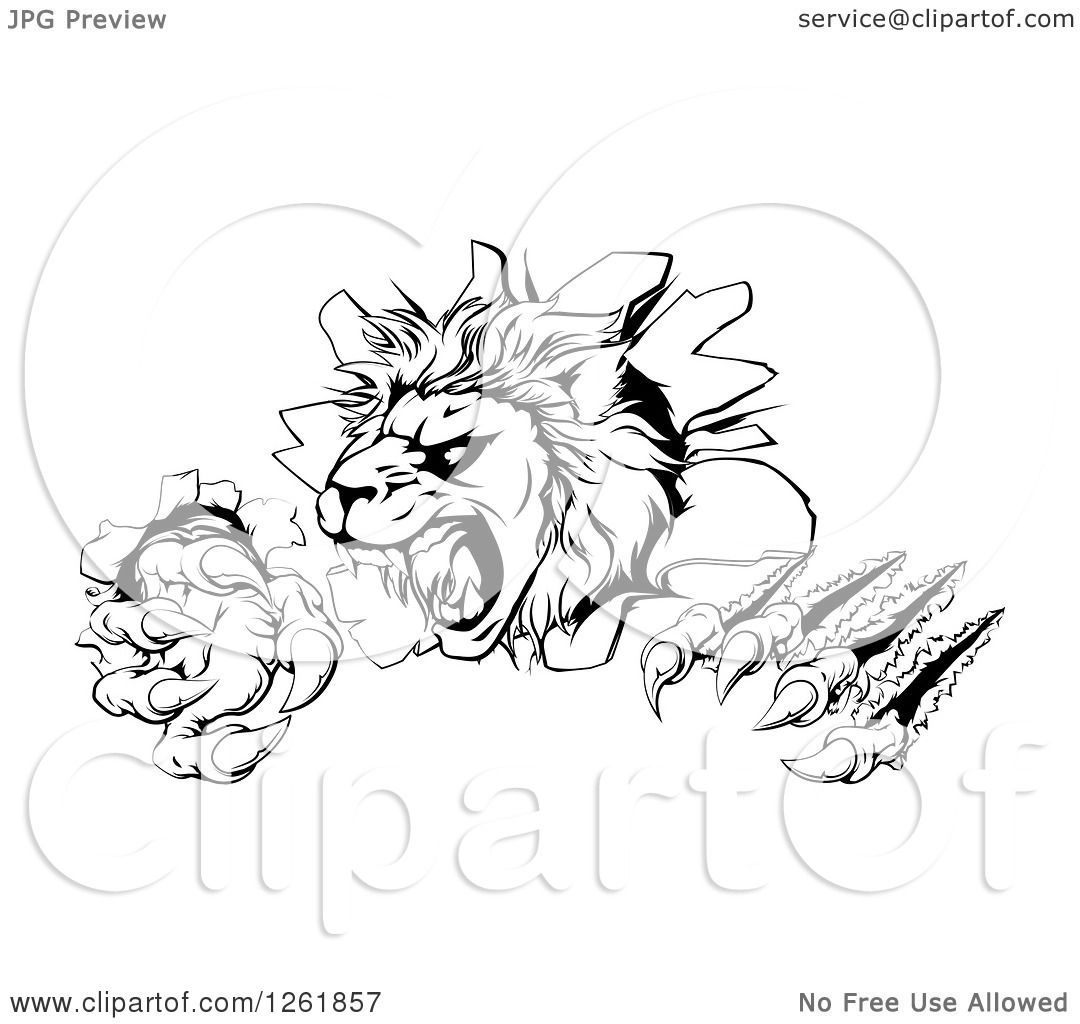 Clipart Of A Black And White Roaring Lion Mascot Head