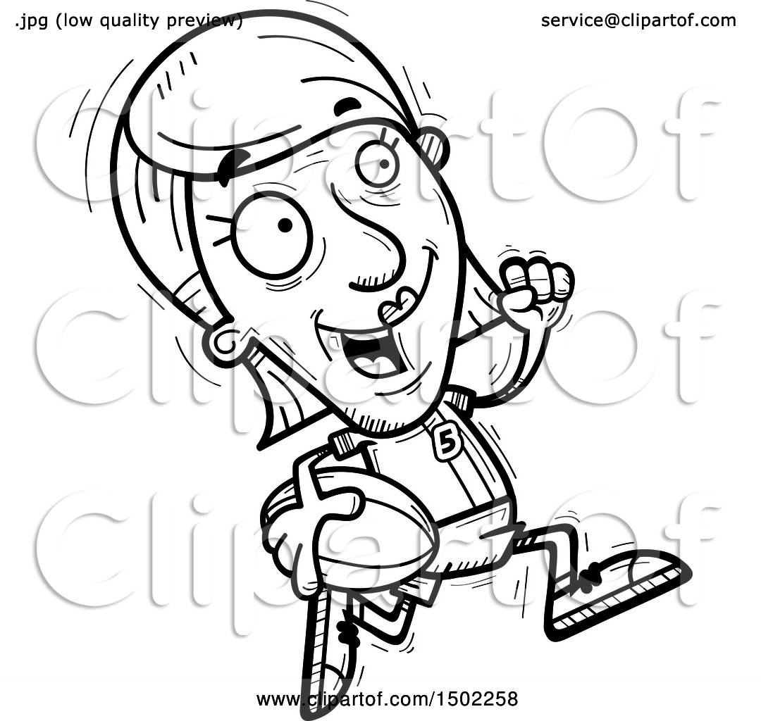Clipart Of A Black And White Running Senior Female Rugby