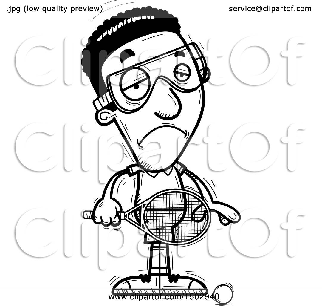 Clipart Of A Black And White Sad African American Man