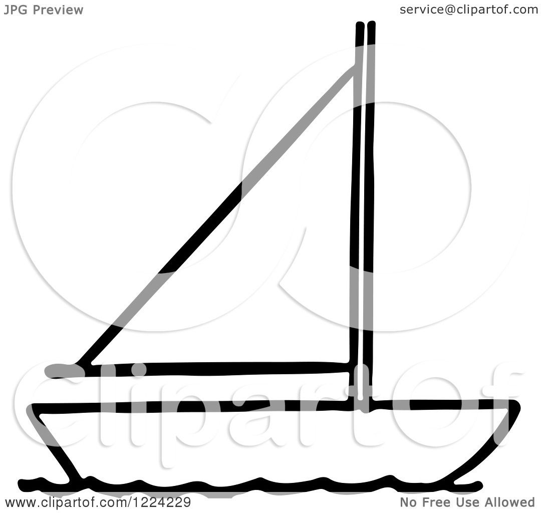 Clipart Of A Black And White Sailboat