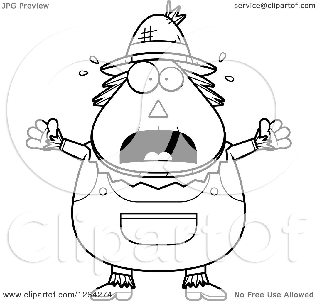 Clipart Of A Black And White Scared Screaming Cartoon Chubby Scarecrow