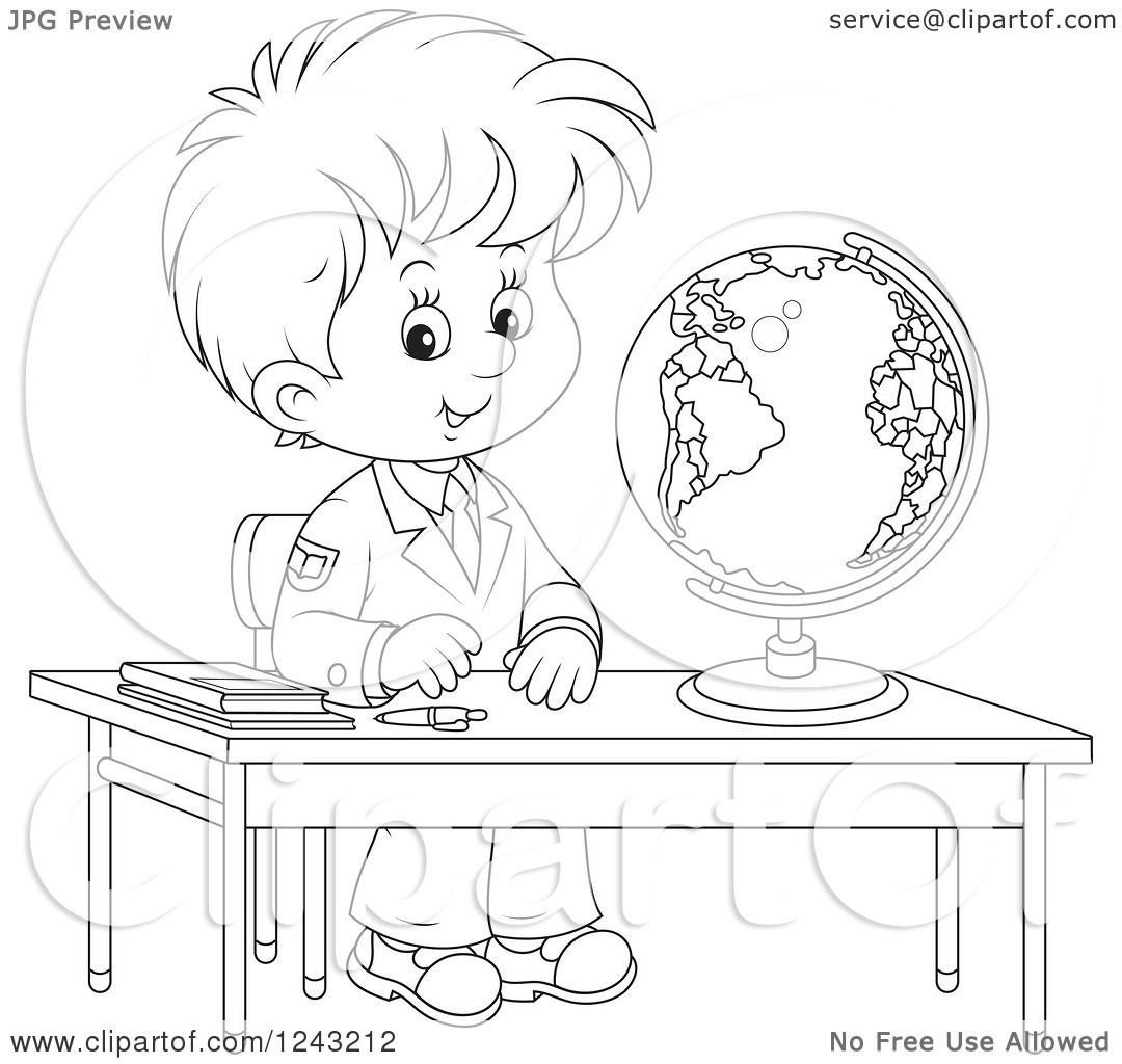 Clipart Of A Black And White School Boy With A Globe At A