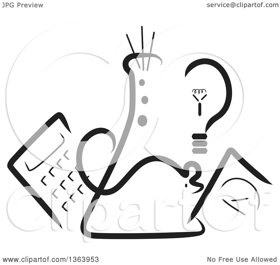 Clipart Of A Black And White Science Beaker Mouse Light