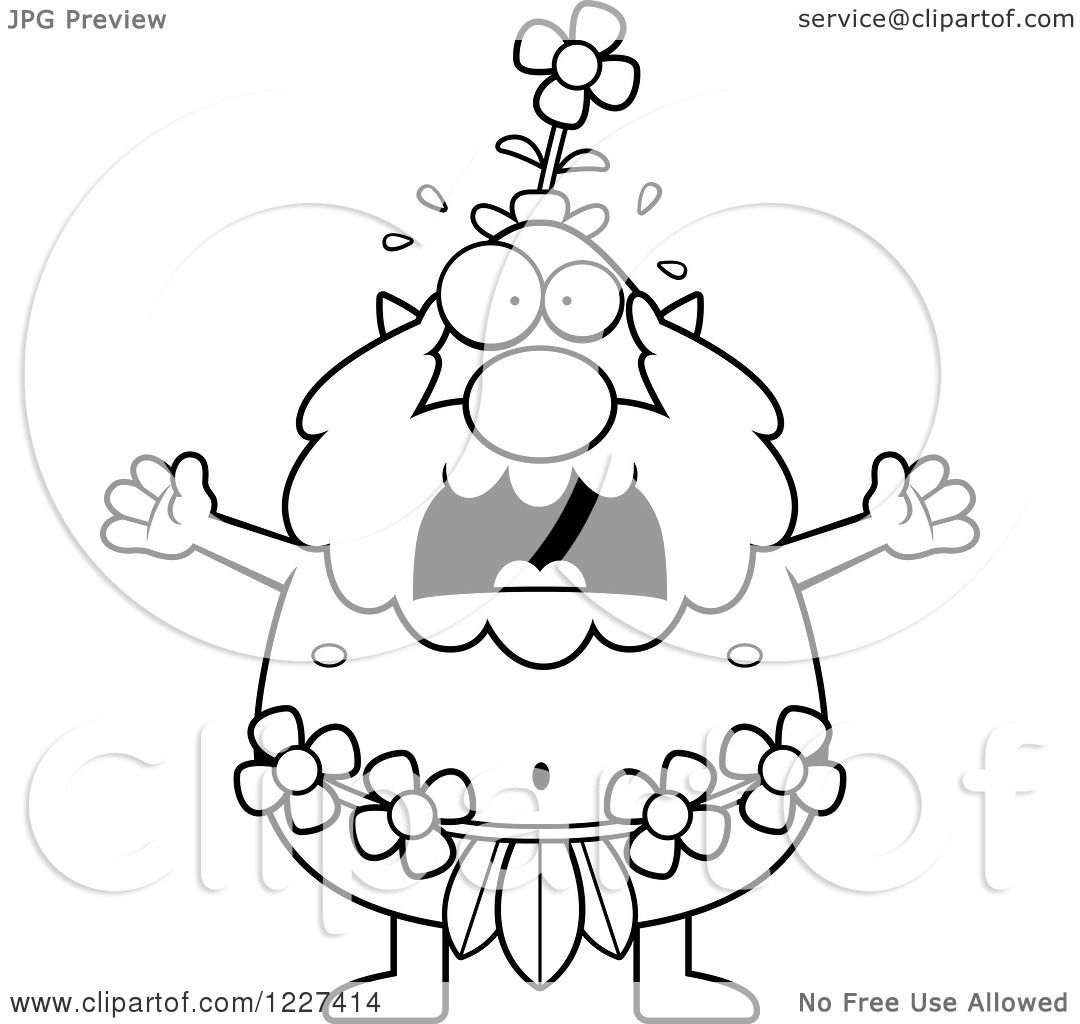 Clipart Of A Black And White Screaming Male Forest Sprite
