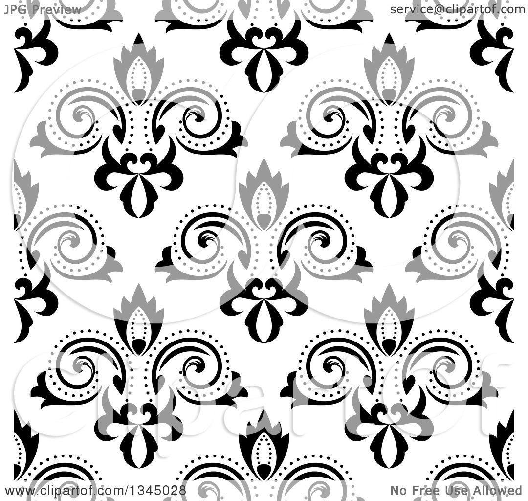 Clipart Of A Black And White Seamless Floral Background Pattern
