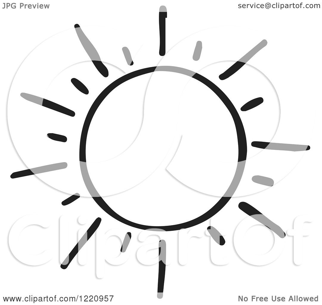 Clipart Of A Black And White Shining Sun