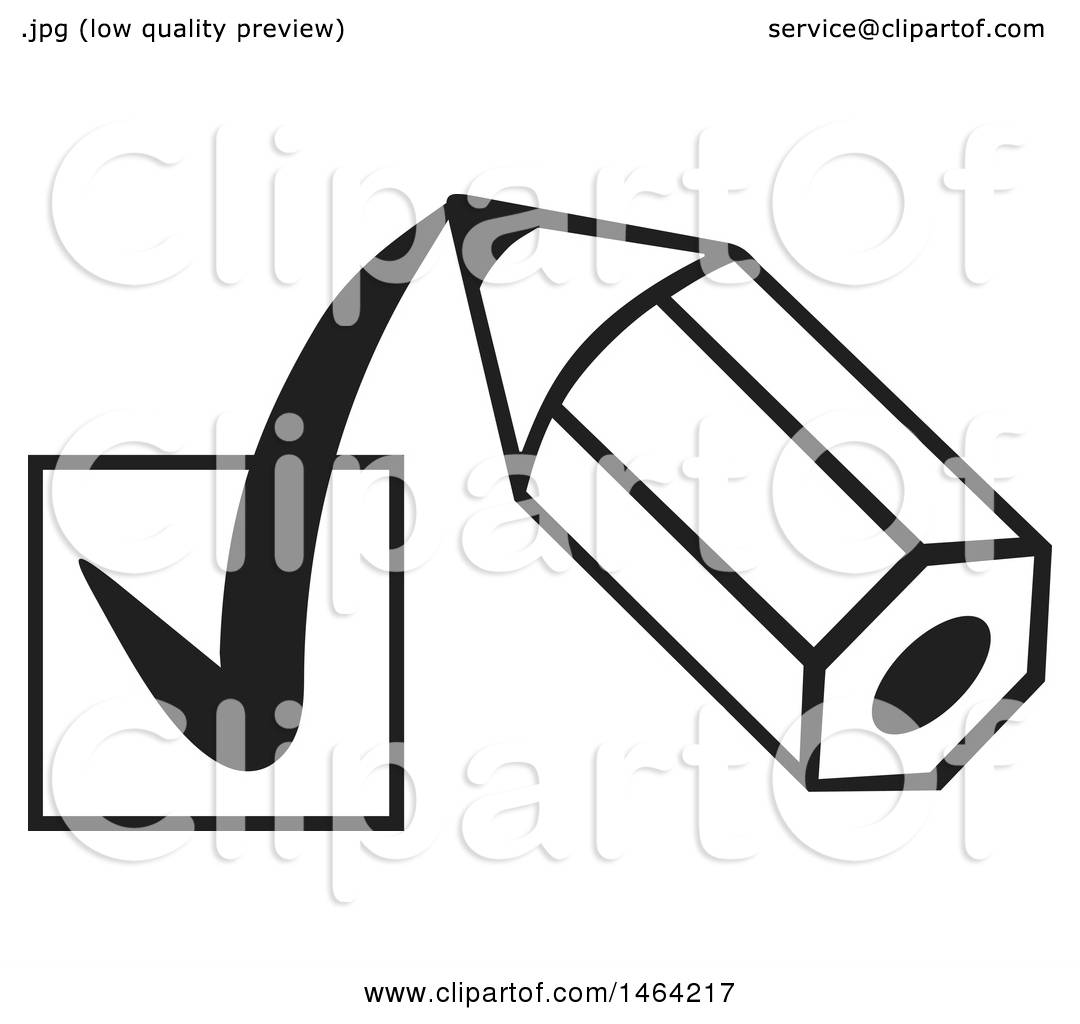 Clipart Of A Black And White Short Pencil Drawing A Check