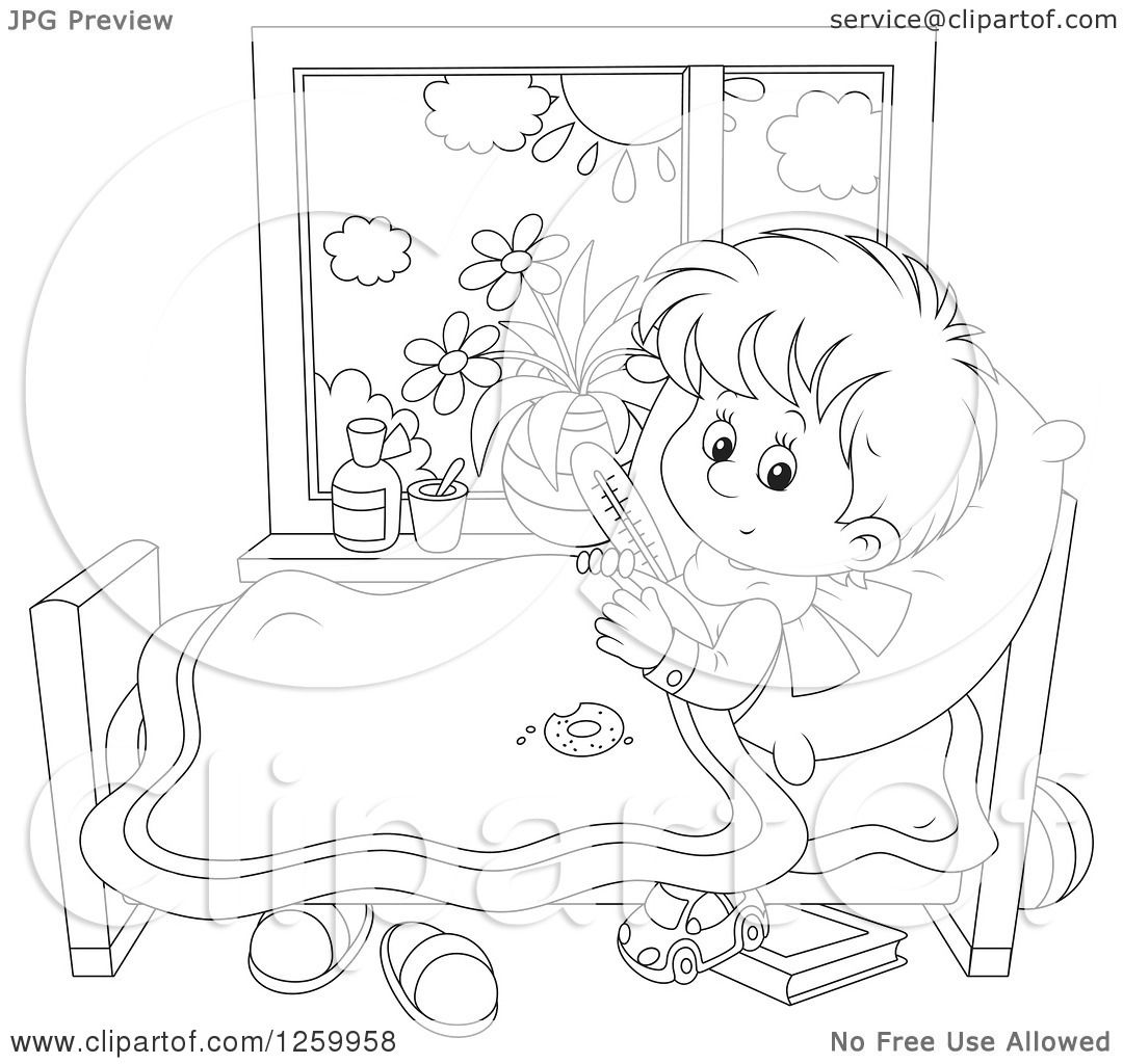 Clipart Of A Black And White Sick Boy With A Thermometer