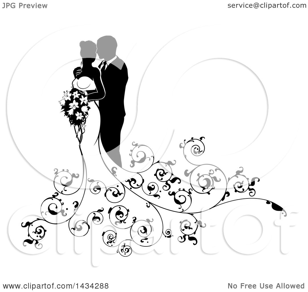 Clipart Of A Black And White Silhouetted Posing Bride And