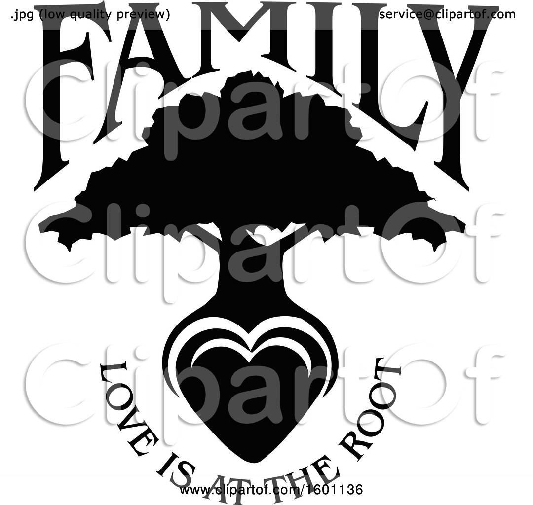 Download Clipart of a Black and White Silhouetted Tree with a Heart ...