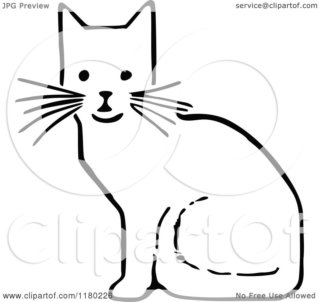 Clipart Of A Black And White Sitting Cat