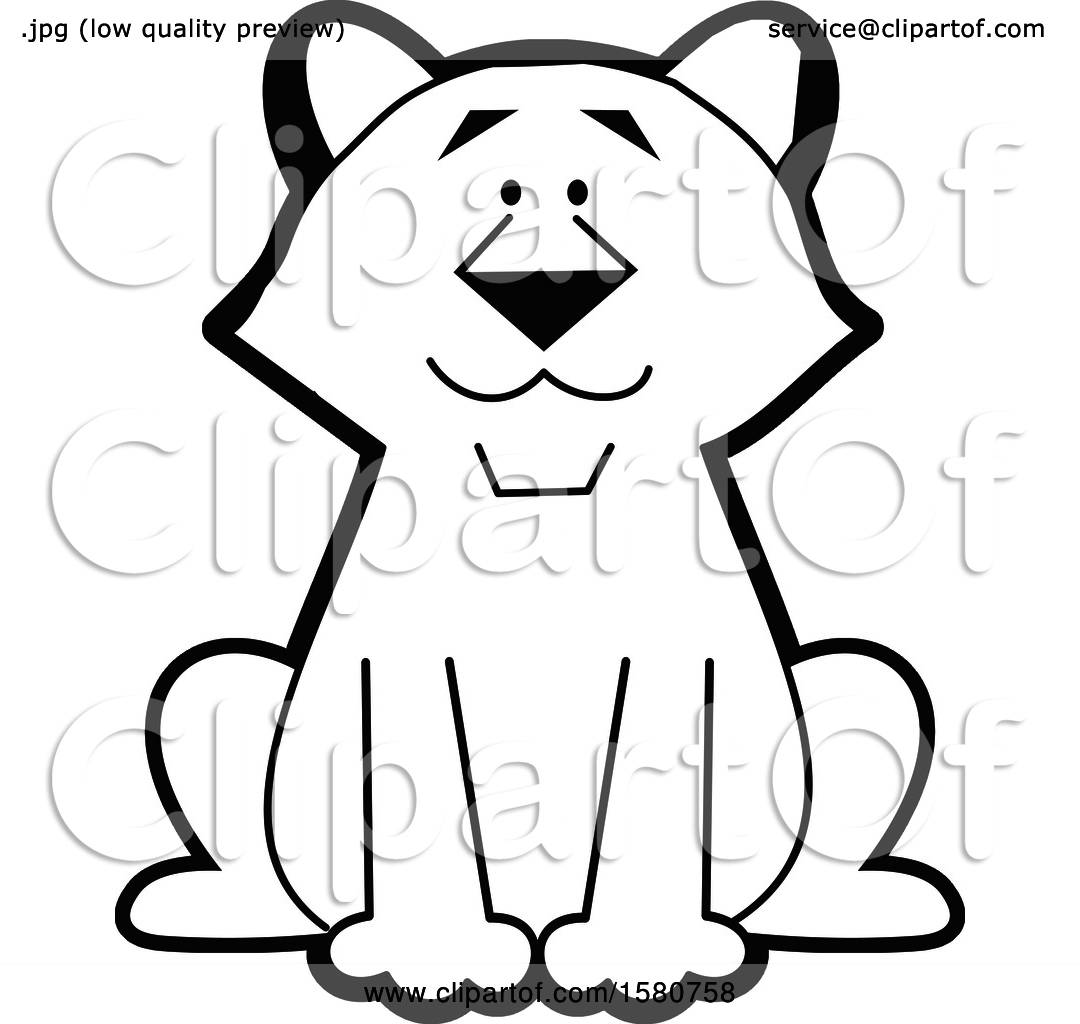 Clipart Of A Black And White Sitting Cougar Big Cat Mascot