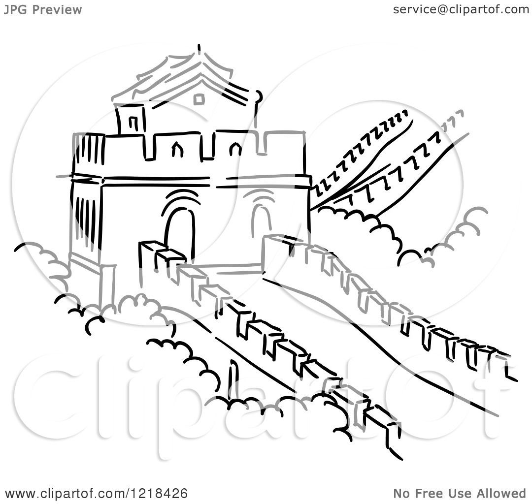 Clipart Of A Black And White Sketch Of The Great Wall Of