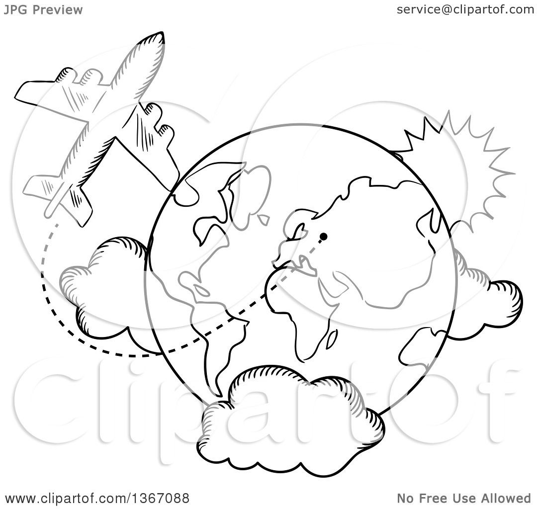 Clipart Of A Black And White Sketched Airplane And Earth