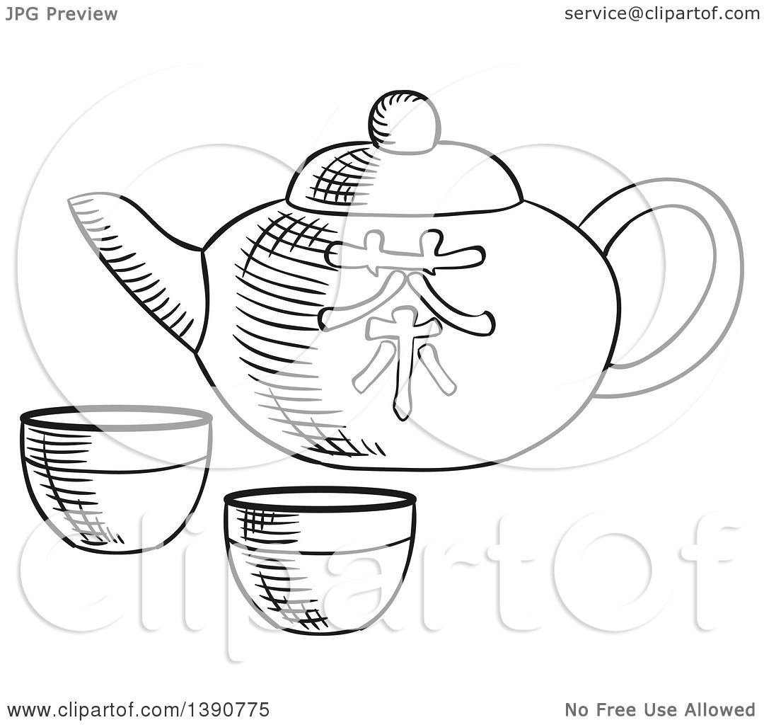 Clipart Of A Black And White Sketched Asian Tea Pot And