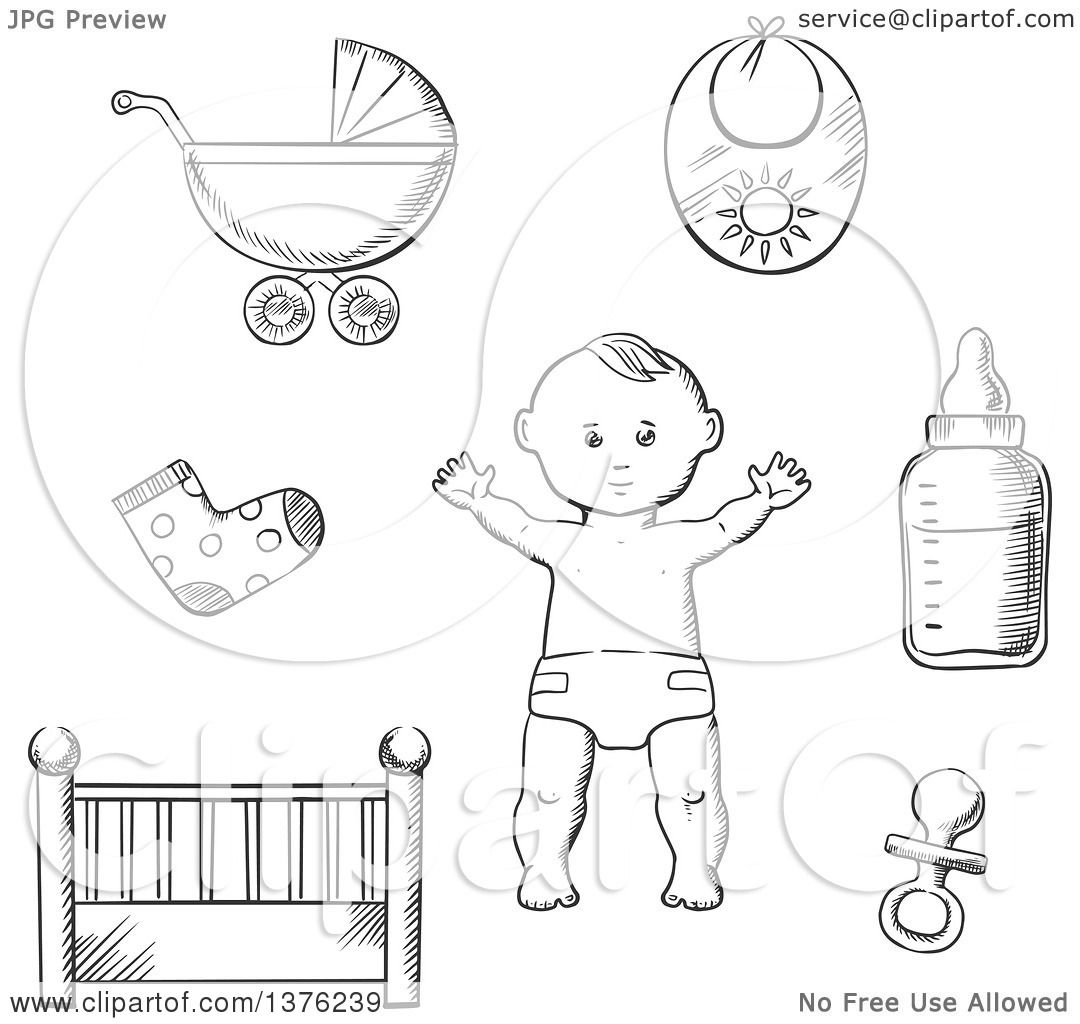 Clipart Of A Black And White Sketched Baby In A Nappy