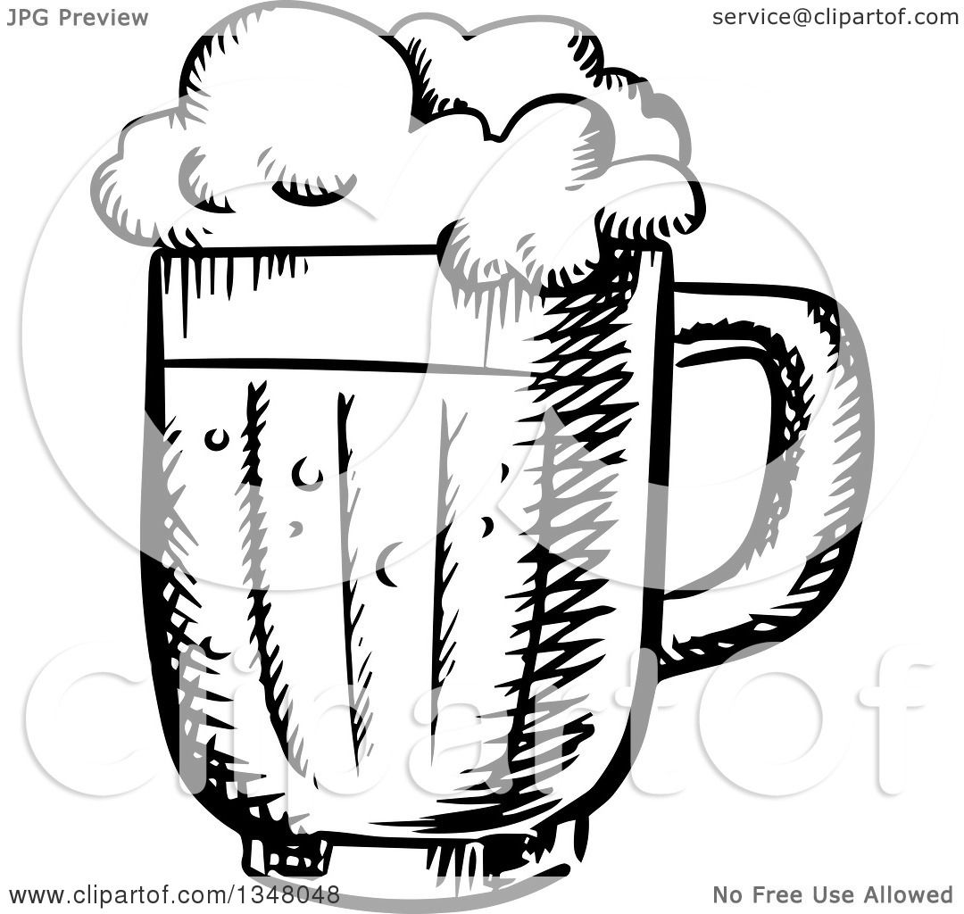 Clipart Of A Black And White Sketched Beer Mug
