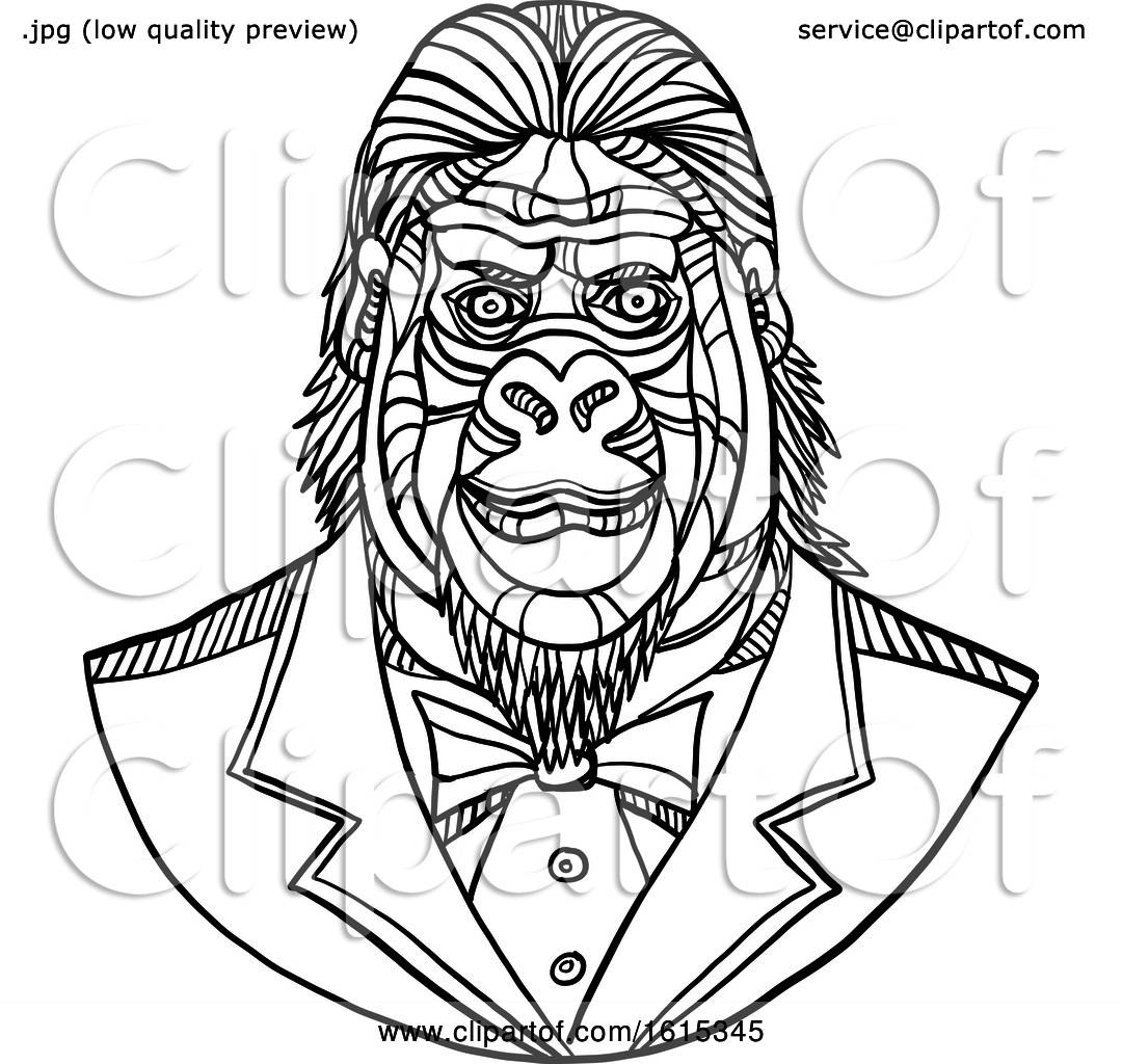 Clipart Of A Black And White Sketched Bust Of A Gorilla