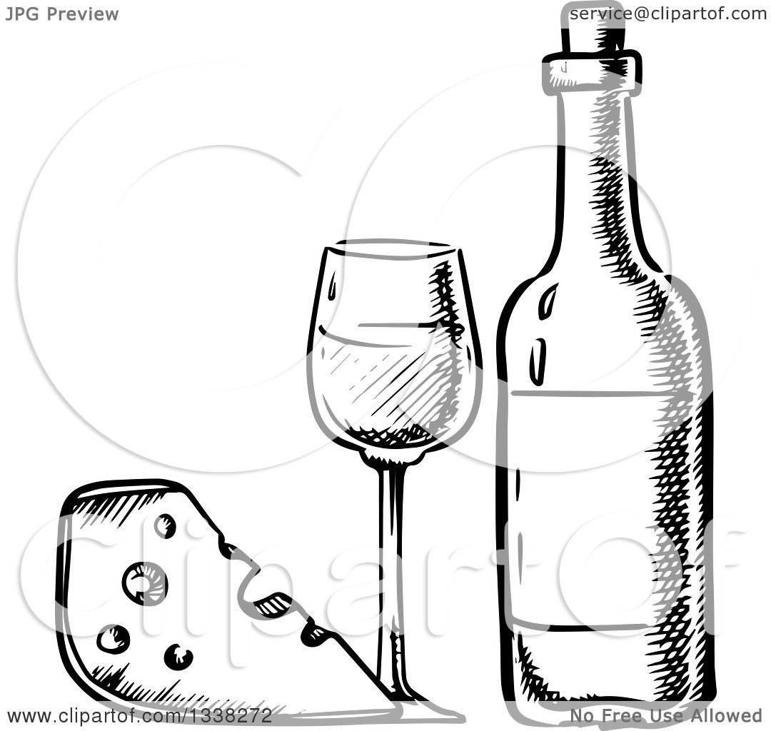 Clipart Of A Black And White Sketched Cheese Wedge And