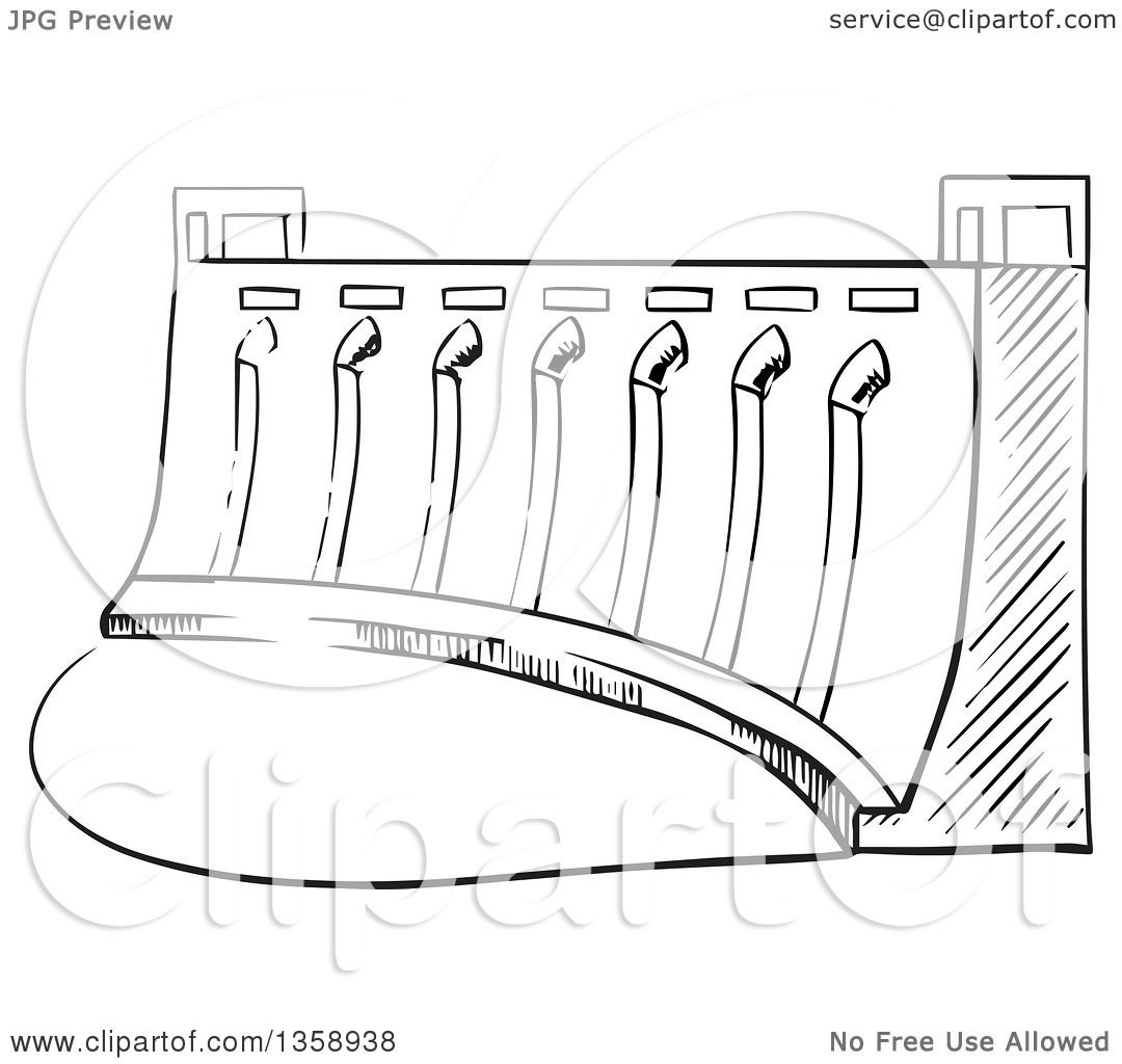 Clipart Of A Black And White Sketched Dam