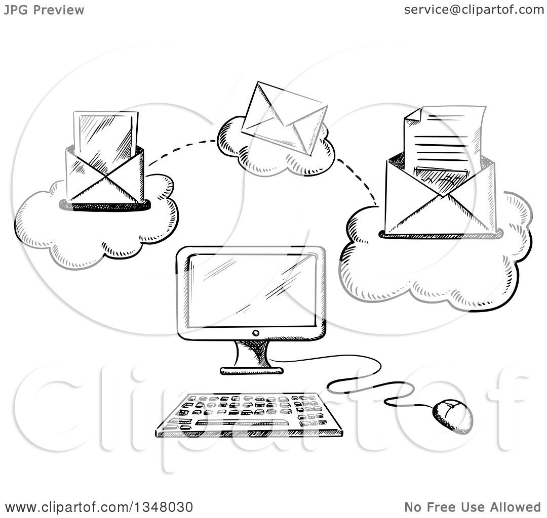 Clipart Of A Black And White Sketched Desktop Computer And